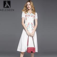 ファッション新高級夏デザインの花刺繍 V エレガントな女性ホワイトドレス AELESEEN
