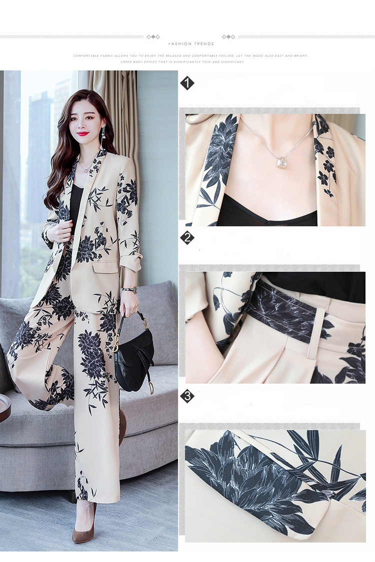 YASUGUOJI New 2019 Spring Fashion Floral Print Pants Suits Elegant Woman Wide-leg Trouser Suits Set 2 Pieces Pantsuit Women 11