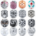 V.YA Cylindrical Beads for Jewerly Making Men Women Color Zircon AAA Crystal Bead for Pandora Big Hole DIY Round Accessories