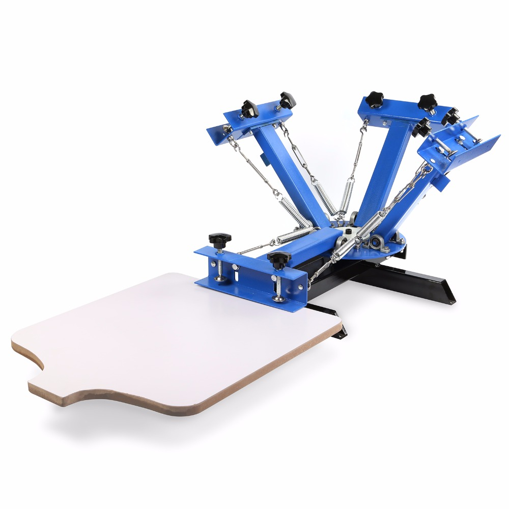 User-friendly  4 Color 1 Station Silk Screen Printing Machine for DIY T-shit printing with screen frames