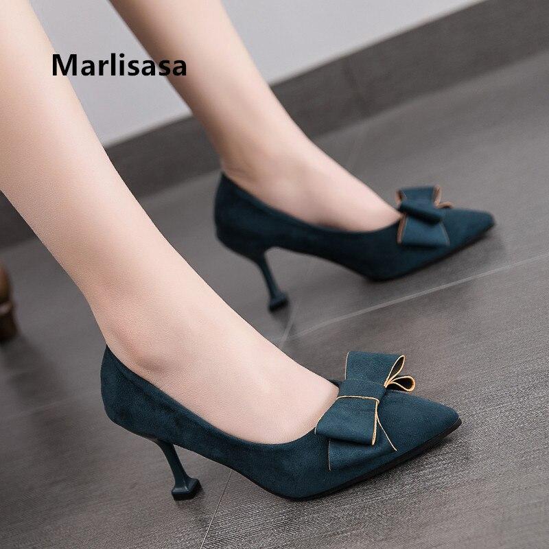Marlisasa Women Cute High Quality Pointed Toe Green High Heel Pumps Lady Fashion Sweet Sexy Wedding High Heel Shoes F2905