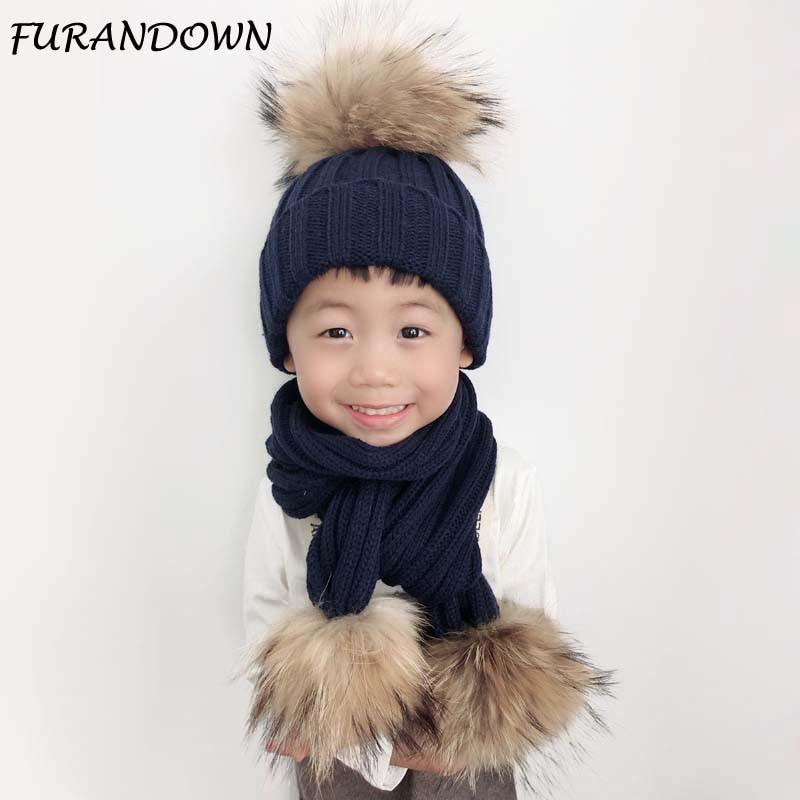 2018 Mode Anak Musim Dingin Topi Bulu Pompom Bayi Rajutan Topi hangat - Aksesori pakaian - Foto 2