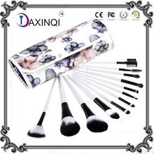 DAXINQI 12pcs Pro white handle +beautiful flower bag makeup brush set powder foundation brush eyeshadow brush cosmetic tools