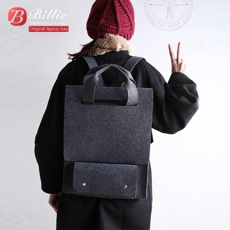 Sac à dos pour ordinateur portable en feutre de laine 14 15.6 sac pour ordinateur portable sac à main noir gris sac à dos pour Macbook Lenovo Dell, et