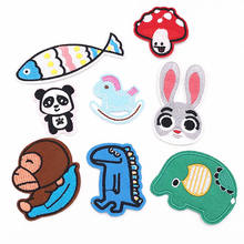 1PCS Animal Panda Monkey dinosaur rabbit fish Clothes Embroidered iron on Patch stickers for Backpack kids diy badges(China)