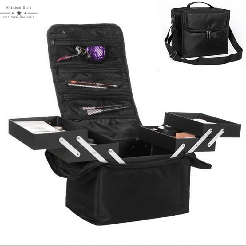 2017 Large Capacity Women Cosmetic Organize Storage Bag Portable Collapsible Makeup Beauty Manicure Tool Cosmetics Case spark storage bag portable carrying case storage box for spark drone accessories can put remote control battery and other parts