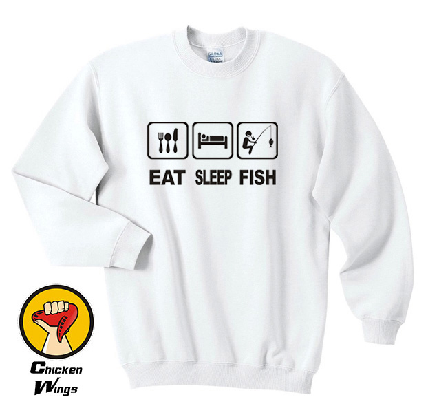 Eat Sleep Fish Gift Funny Top Crewneck Sweatshirt Unisex More Colors XS 2XL in Hoodies amp Sweatshirts from Women 39 s Clothing