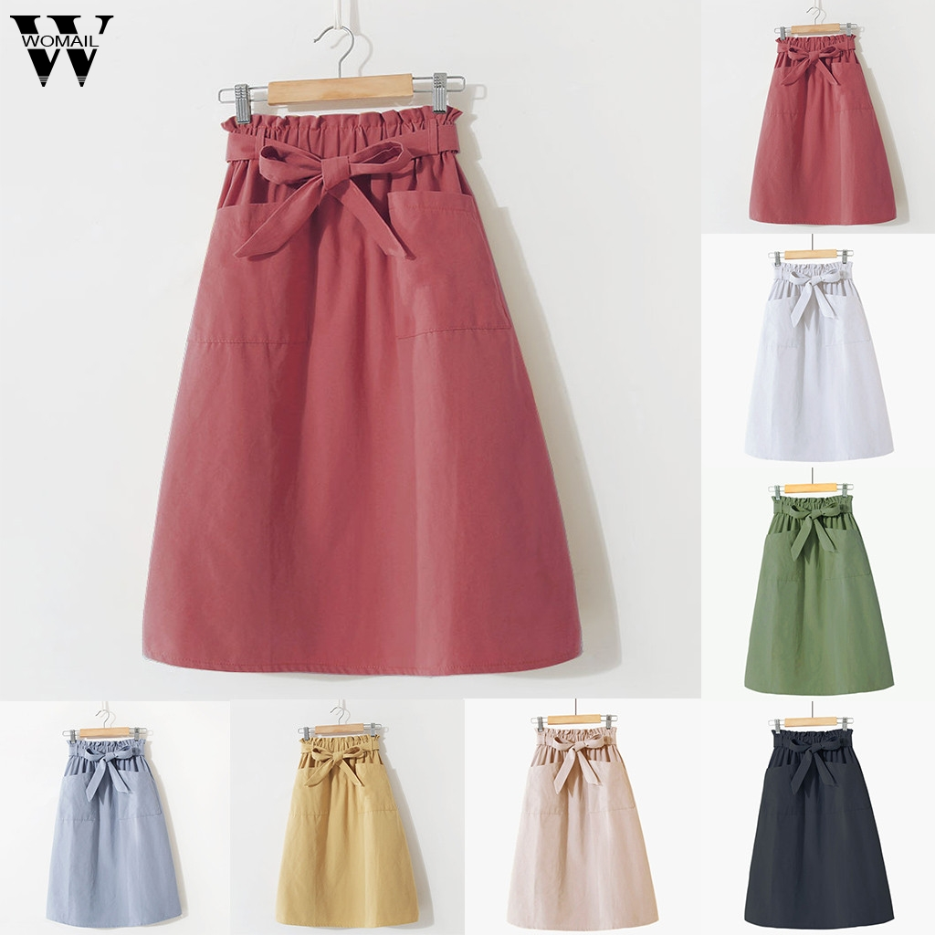 Womail Women Skirt Summer Vintage Skirt High Waist Ladies Solid Skirts Party Long Skirt For Women Casual Holiday Beach 2019 J610