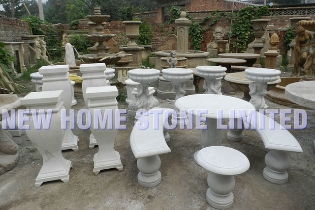 Natural Stone Garden Furniture Outdoor Marble Tableu0026benches Flower Pots  Decor