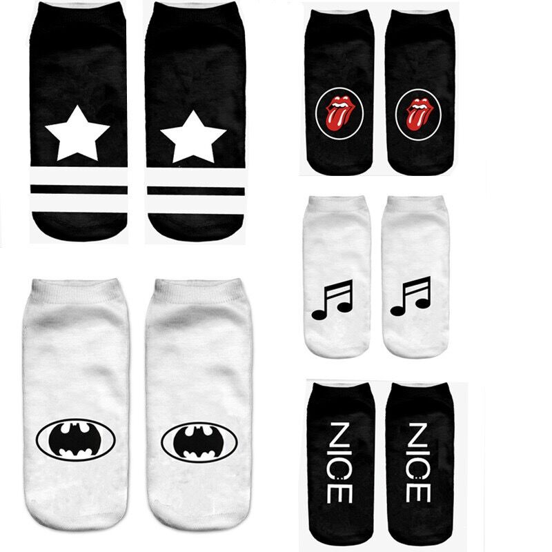 Black And White Cotton Socks Unique Sign Printing Casual Boat Socks Music Note Casual Hosiery Meisa