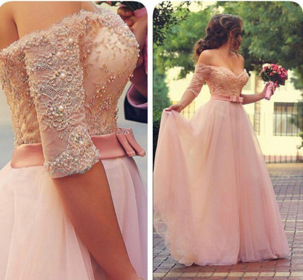 Vestido De Festa Pink Prom Dresses with Sleeves Appliqued Off Shoulder Beaded Bodice Wedding Party Dresses with Belt
