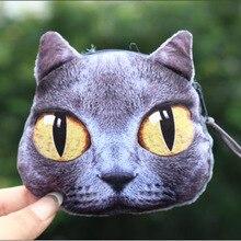 NEW Printed on both sides Cat Face Zipper Coin purse kids wallet kawaii bag change coin pouch children's purse women coin wallet
