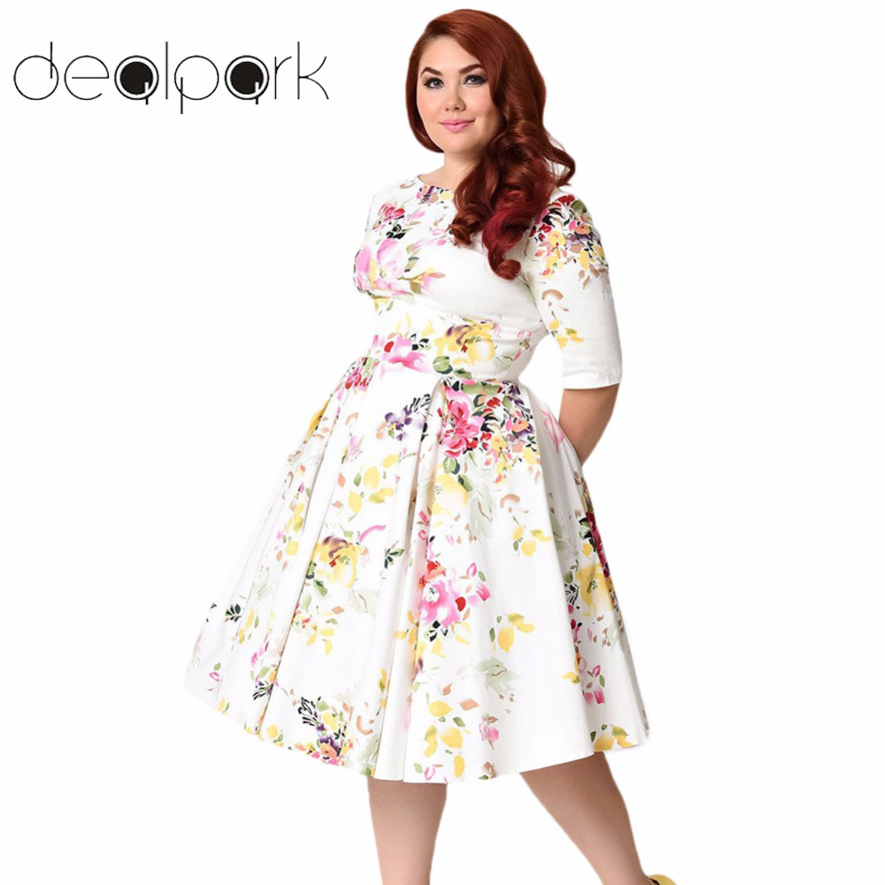 Autumn Vintage Plus Size Dresses Floral Swing Dress Round Neck Half Sleeve  High Waist Back Zip Party Pleated Dress Large Size-in Dresses from Women s  ... f27806ad5