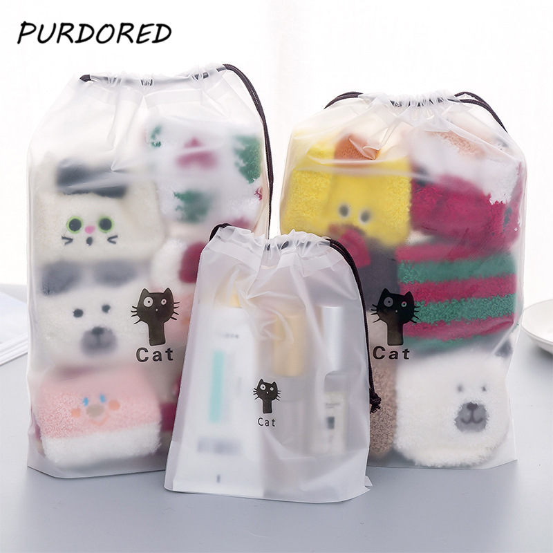 PURDORED 1 pc Cute Cat Transparent Cosmetic Bag Travel Makeup Bag Women Drawstring Make Up Organizer Storage Pouch Dropshipping(China)