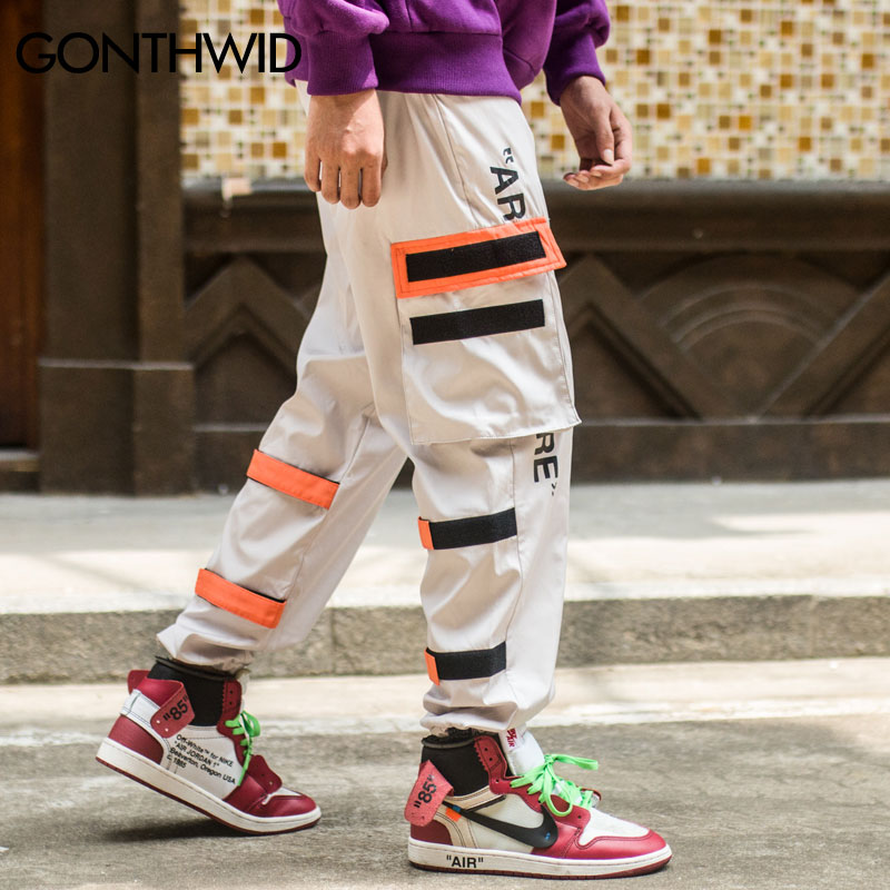 Gonthwid Men's Side Pockets Cargo Harem Pants Hip Hop Casual Male Tatical Joggers Trousers Fashion Casual Streetwear Pants #2
