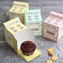 100 Uds caja de regalo impresa caliente del horno de la vendimia, caja de la Magdalena, molde para pastel cajita de recordatorio para fiestas
