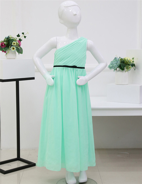 Chiffon One Shoulder Girls Green Dress