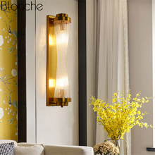 Nordic Gold Wall Lamp Led Crystal Glass Sconce Light Fixtures Modern Adjustable Lamps for Bedroom Bedside Home Loft Decor