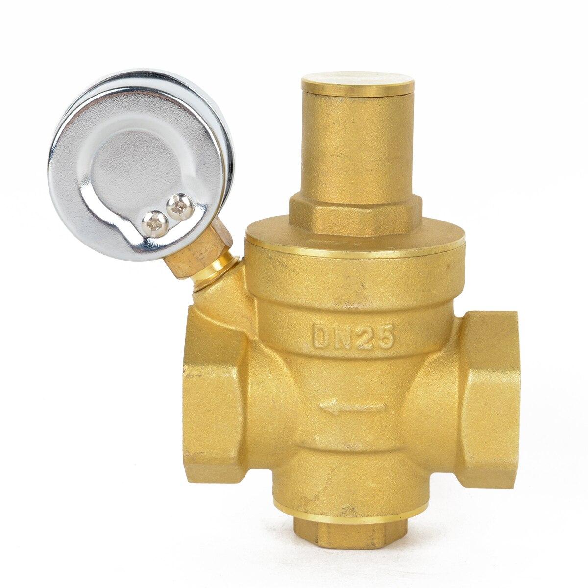 "Brass DN15 Water Pressure Reducing Valve 1/2"" NPT With Gauge Meter Mayitr Adjustable"