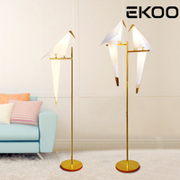 EKOO Modern Bird Lampshade Golden base Floor Lamp Light with LED Bulbs Metal Lambader