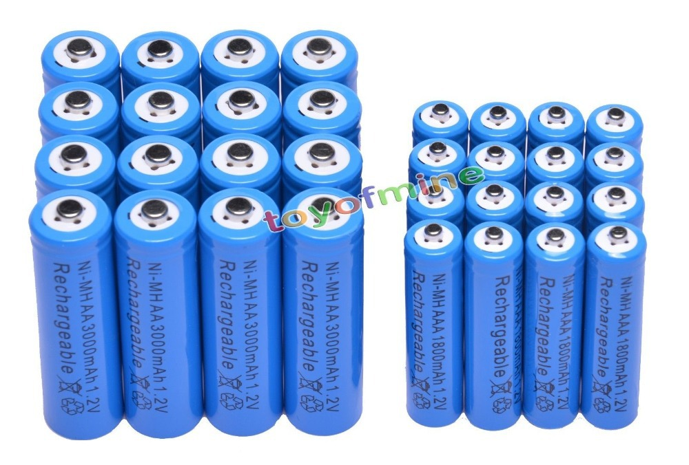 4/8/16/24/48pcs AA 3000mAh + AAA 1.2V 1800mAh NiMH Blue Rechargeable Battery Cell for RC toys led flashlight torch light new 1pc aa 3000mah 1 2v rechargeable battery nimh tip head batteries baterias bateria for flashlight torch camera mp3 mp4