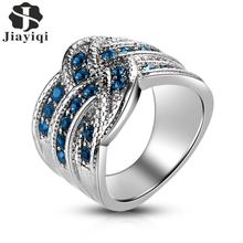 New Zircon Crystal Silver Inlaid Cross Ring For Women Wedding Boho Finger Ring Luxury Jewelry(China)