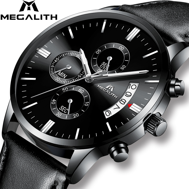 MEGALITH Luxury Watch Men Sports Waterproof Chronograph Date Analogue Wristwatch Gents Fashion Casual Black Leather Quartz WatchMEGALITH Luxury Watch Men Sports Waterproof Chronograph Date Analogue Wristwatch Gents Fashion Casual Black Leather Quartz Watch