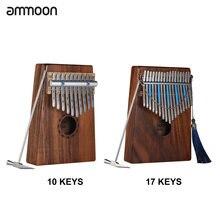 Ammoon 10 Tuşları/17 Tuşları Kalimba Mbira Sanza Başparmak Piyano Hawaiian Koa katı ahşap Taşıma Çantası ile Ölçekli Etiket Tuning çekiç