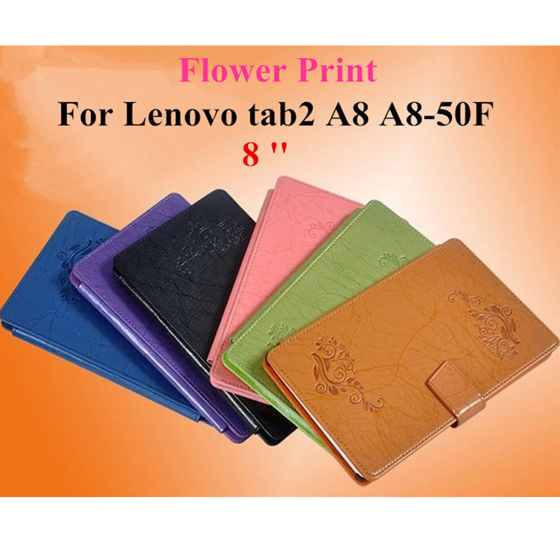 For Lenovo Tab 2 A8-50F New Print Flower PU Leather cover Case Stand For Lenovo tab2 A8 A8-50F 8 Tablet protective shell skin new 8   inch for lenovo tab 2 a8 50f