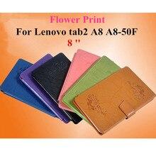"""Para lenovo tab 2 a8-50f nueva impresión de la flor de cuero de la pu caso de la cubierta del soporte para lenovo tab2 a8 a8-50f 8 """"piel de la cáscara protectora de la tableta"""