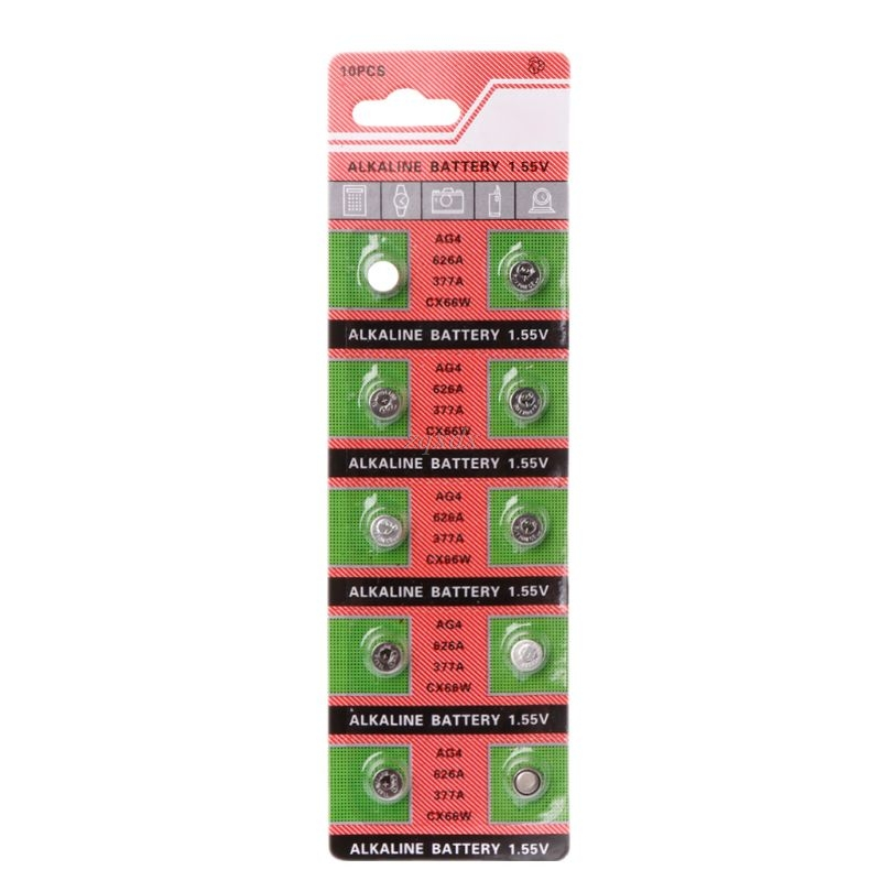 10PCS Watch Coin Battery AG4 377A 377 LR626 SR626SW SR66 LR66 Button Cell Batteries Toys Remote Camera Drop Ship