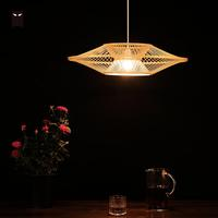 60cm Bamboo Chandeliers Japanese Lamp Wicker Rattan Modern Chinese Asian Lighting Lustre for Indoor Home Tea Room Bedroom Salon