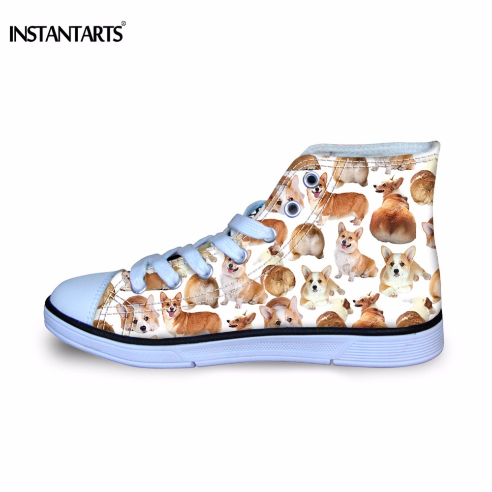 Athletic Shoes Diplomatic Instantarts Cute Corgi/pug Dog Printing Children Sneakers Comfortable High Top Canvas Shoes For Girls Boys Breathable Flat Shoes