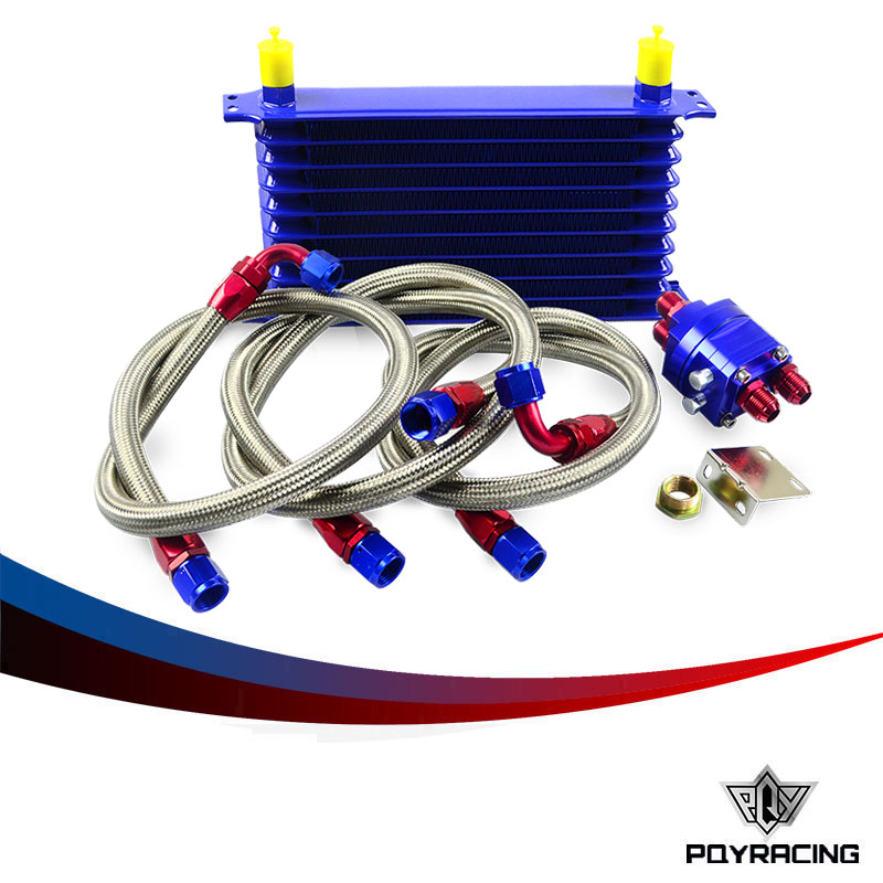 PQY RACING- Universal OIL COOLER 10Row 10AN Aluminum Engine Transmission Oil Cooler Relocation Kit