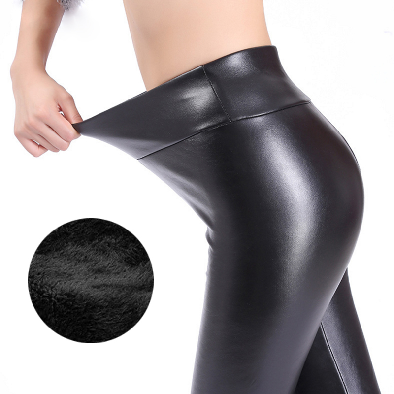 Kaminsky Winter Leggings for Women Fashion Faux Leather Leggins Women Pants Warm Women's Trousers Warm Solid Leggings