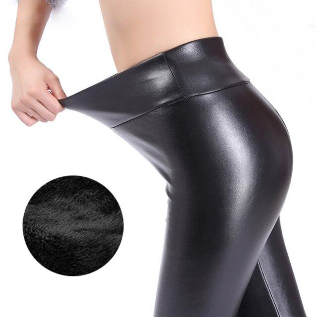 US $6.99 50% OFF|Kaminsky Winter Leggings for Women Fashion Faux Leather Leggins Women Pants Warm Women's Trousers Warm Solid Leggings in Leggings