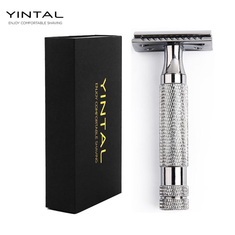YINTAL Double Edge Razor Men Shaving Sliver Copper Alloy Non-slip Handle Men's Manual Shaver цена