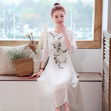 Spring and summer new style Chinese style folk style hanging dress Vintage embroidered long dress купить недорого в Москве