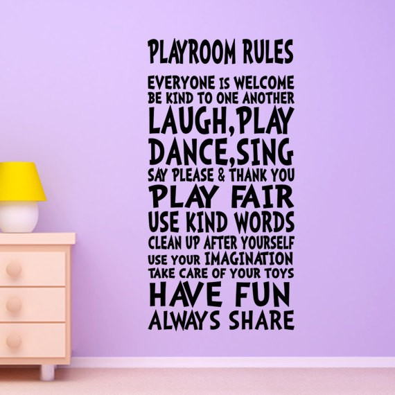 Playroom Rules Wall Decor Wall Art Sign For Children Kids Girl Boy Playroom  Wall Quote Wall