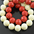 13mm Chinese Ancient Dragon Beads Resin Carved Round Beads For Jewelry Making DIY Beads 30Beads/lot