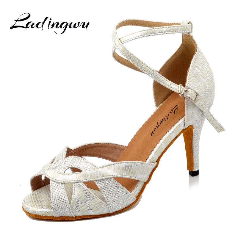 Ladingwu Woman Latin Dance Shoes Black/White Glitter and PU Sandals For Dance Shoes For Ballroom Dancing Heel For Women 5cm fashionable tartan pattern 5cm width black and white tie for men