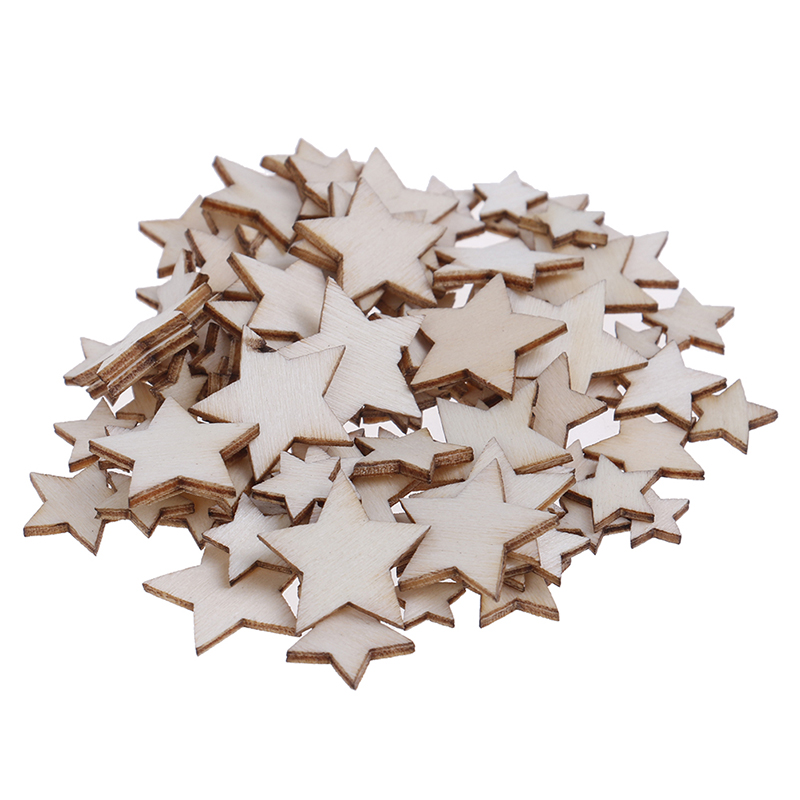 100Pcs/Set Wood Star DIY Christmas Scrapbooking Party DIY Decorations Chipboard Fashion Wooden Home Decor