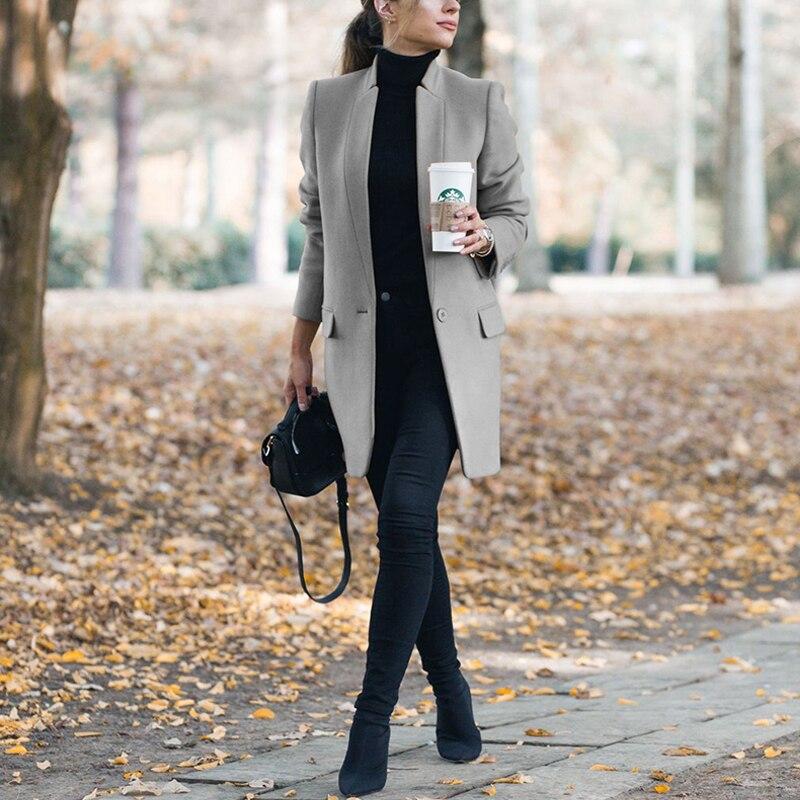 Autumn Women's Wool Pocket Coat New Fashion Long Woolen Coat Slim Type Solid Female Winter Wool Jackets Female Outwear