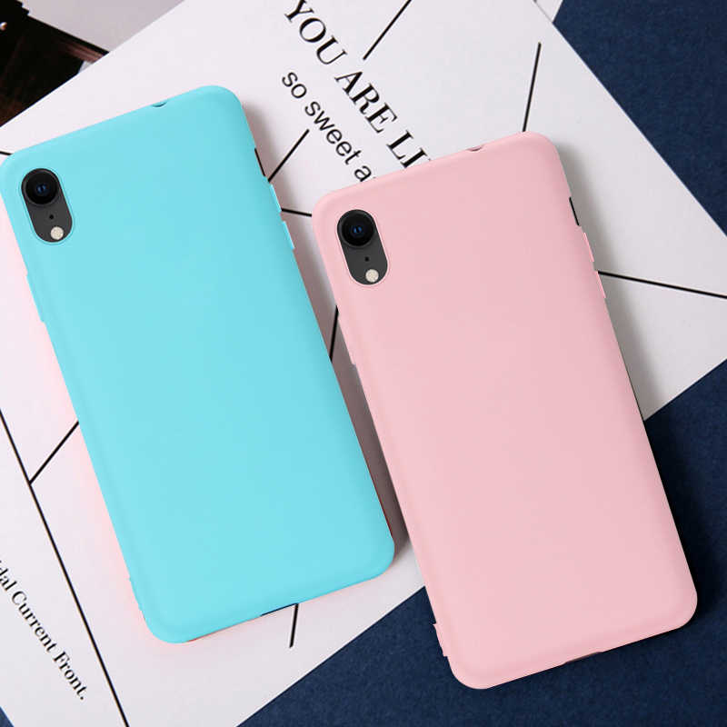Candy Color Matte Phone Case For iPhone 7 Plus 6 6s 8 7Plus Case For iPhone XS MAX X XR Simple Solid Soft TPU Cases Back Cover