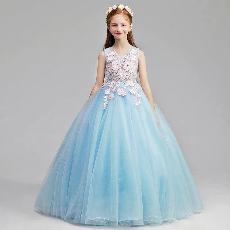 Été printemps élégant enfants modèle spectacle broderie fleurs soirée anniversaire robes de fête infantile Junior hôte maille robe