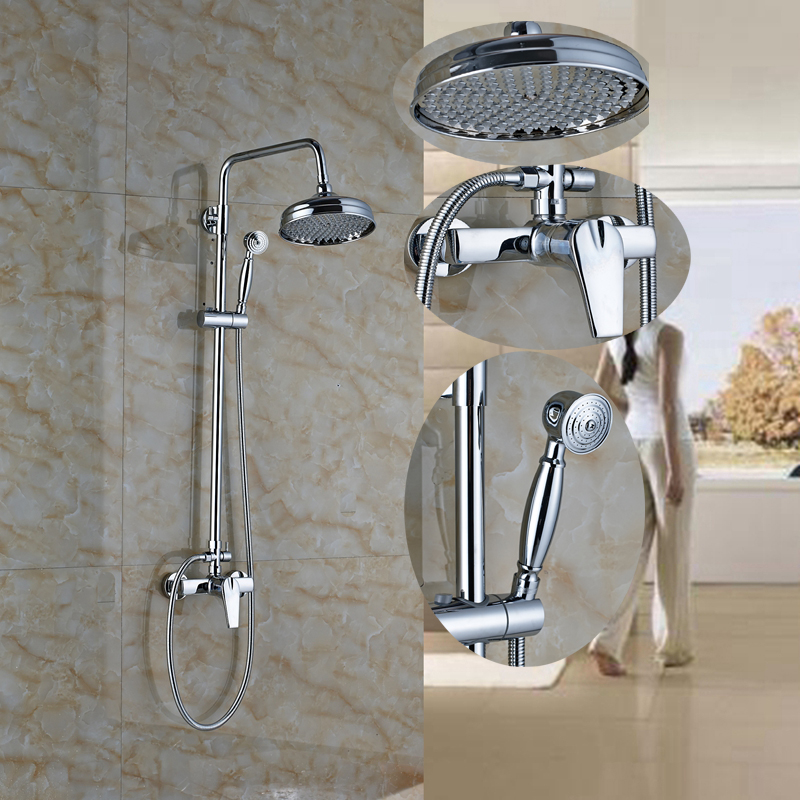 цена на Wall Mount Rain Shower Faucet Chrome Single Handle Mixer Tap W/Hand Shower Spray