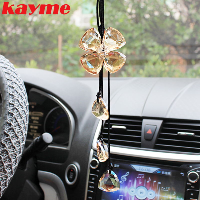 Kayme car hanging accessories <font><b>mirror</b></font> pendant crystal car ornaments rear view charms accessories auto interior decoration 2017