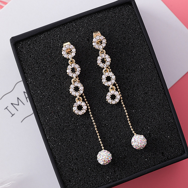 Crystal Classic Water Drop Dangle Geometric Circles Earrings