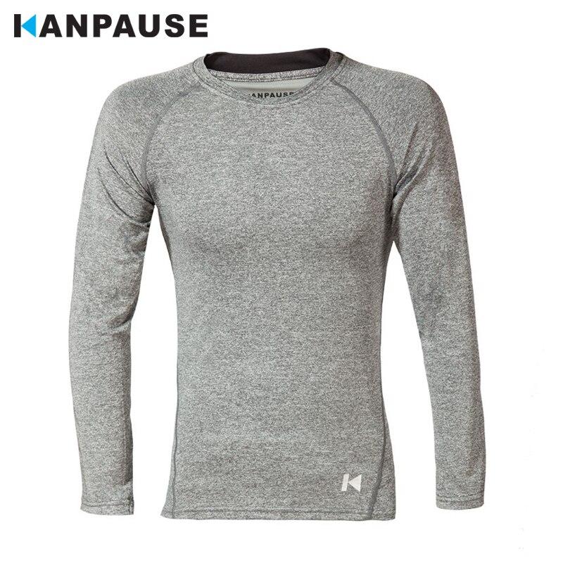 새로운 도착 KANPAUSE 남성 꽉 긴 소매 훈련 운동 피트니스 운동 티셔츠 운동복