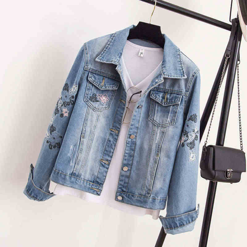 24885f3b87131 Plus Size 4XL Denim Jacket Women New Embroidery Vintage Jeans Jacket Women  Chaqueta Mujer Denim Bomber